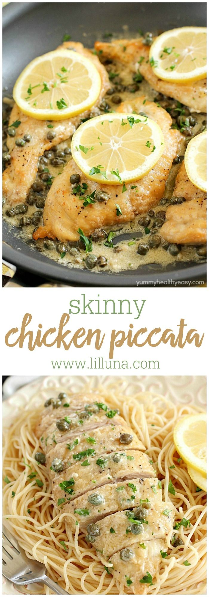 """This """"Skinny"""" Chicken Piccata is easy enough to make on a busy weeknight but also fancy enough to make when you have company over! Plus it's a skinny version, which makes it even better!"""