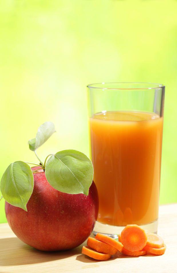 ESTÔMAGO  Ingredientes: - 1 maçã  - 1 cenoura  - água filtrada Modo de preparo:  Bata as frutas com água no liquidificador e adoce. Sirva gelado.