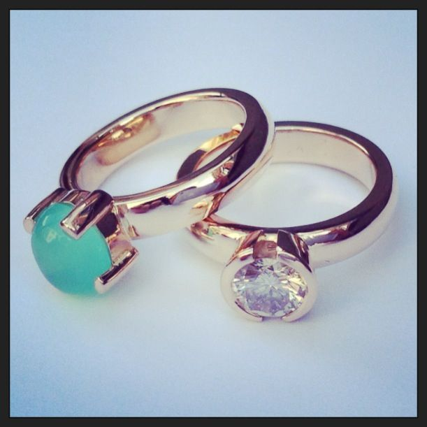 Rings redgold with diamond and andes opal I  Eelz jewellery  I  handmade I  www.eelzsieraden.nl