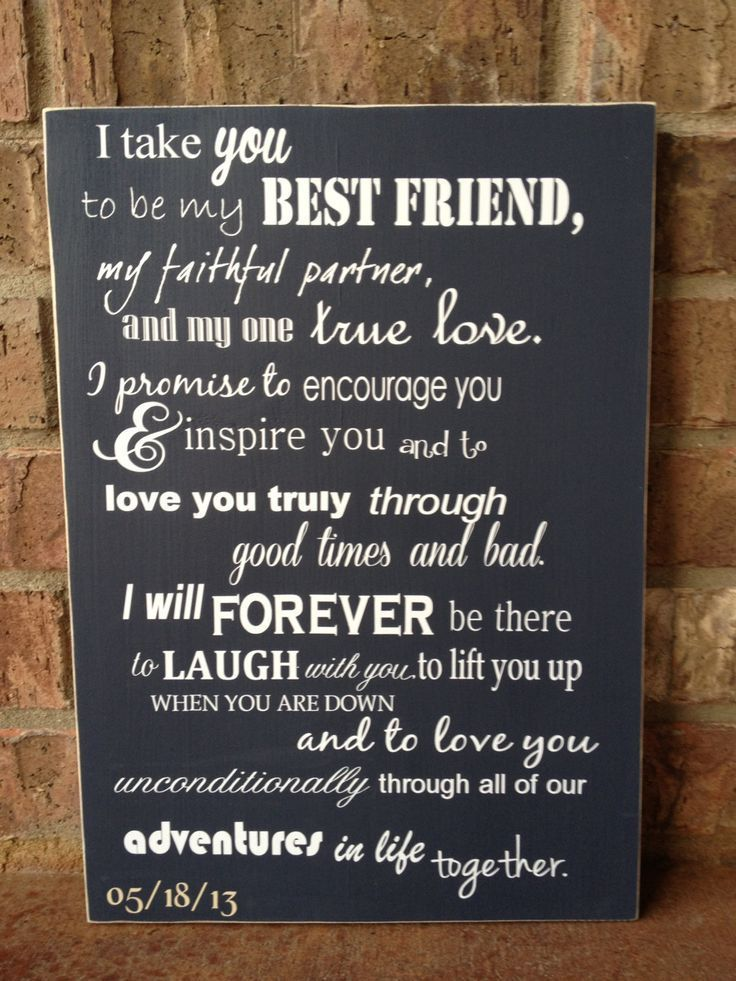 Hang the words to your vows in your bedroom.. Love this!