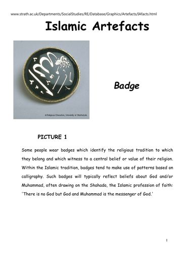 Information about Islam artefacts.