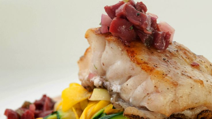 Grouper with Sour Cherry Salsa
