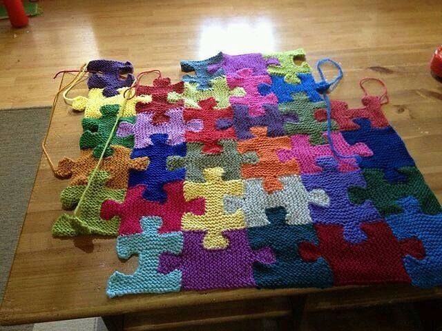 IG photo -- puzzle piece crocheted quilt afghan