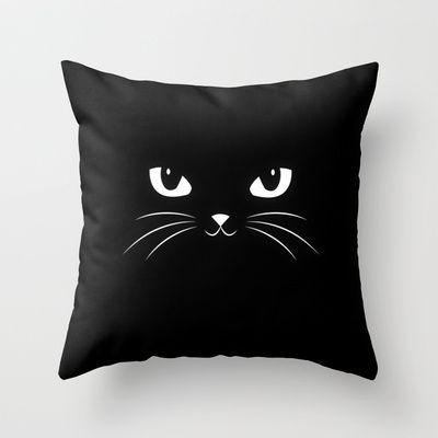 Cute Black Cat Throw Pillow by badbugs_art - $20.00
