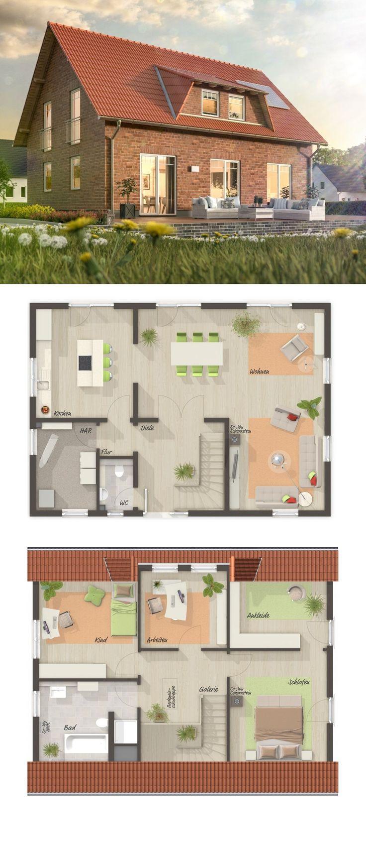 Einfamilienhaus Neubau mit Klinker Fassade, Sattel…