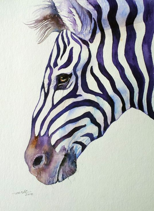ARTFINDER: Suave Zebra by Arti Chauhan - I find this Zebra extremely suave and handsome. This is one from my Purple Stripes series.In this series I explore the mystery of the beautiful Zebra strip...