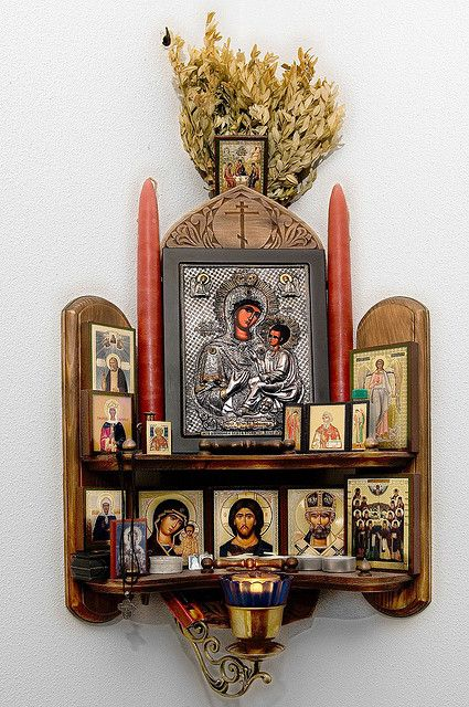 Beautiful Russian. Home Altar. I love this would it for my bedroom. In my praying corner , I also adore the candle you can light. During. Prayer