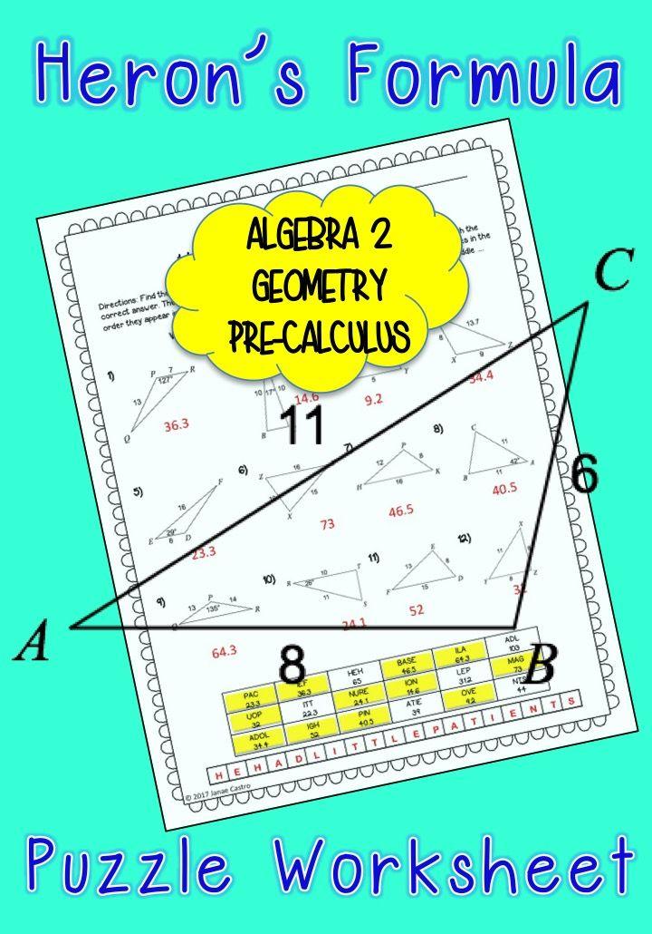 Heron's Formula - Puzzle Worksheet | High School Math Ideas ...