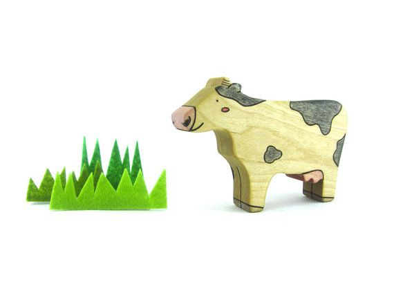 Cow Toy  Wooden Toy  Toy Animals  Farm Animal  by WoodenfulToys, $9.75