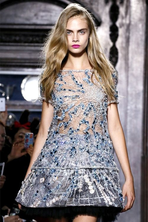 Cara + Crystal: Summer 2013, Fashion, Giles, Hair Tutorial, Spring Summer, Delevingne Face, Embellishment, Spring 2013, Haute Couture