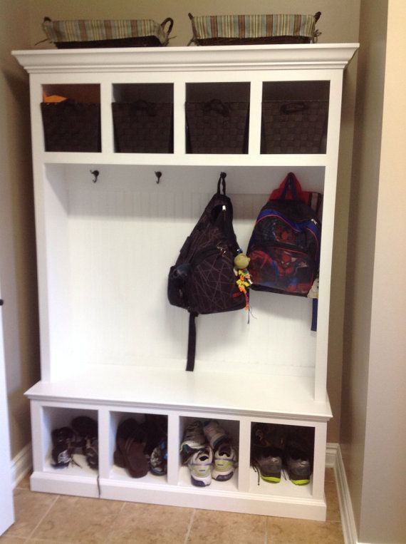 Wide Beadboard Hall Tree With 4 Upper And Lower Storage Cubbies   Entryway  Furniture   Storage Locker   Coat Rack   Mud Room  Bead Board