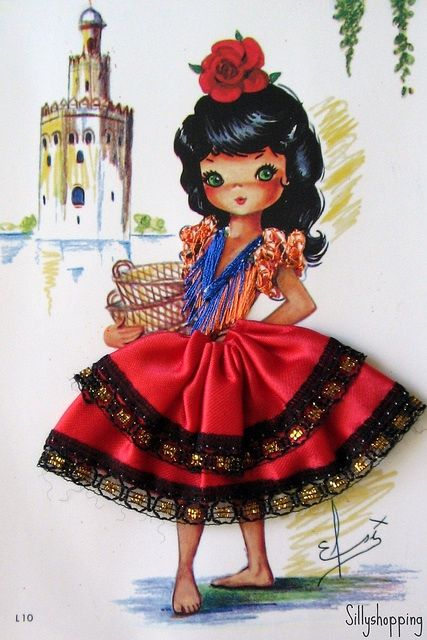 Embroidered spanish girl. My Mom used to send us these post cards from Spain when she was there in 1973 or 4.