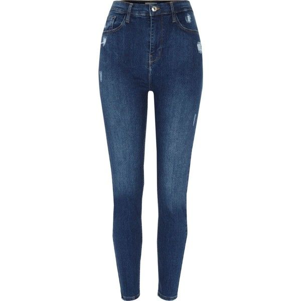 Blue Harper high waisted skinny jeans ($59) ❤ liked on Polyvore featuring jeans, pants, super skinny jeans, super high-waisted skinny jeans, skinny jeans, distressed jeans and ripped skinny jeans