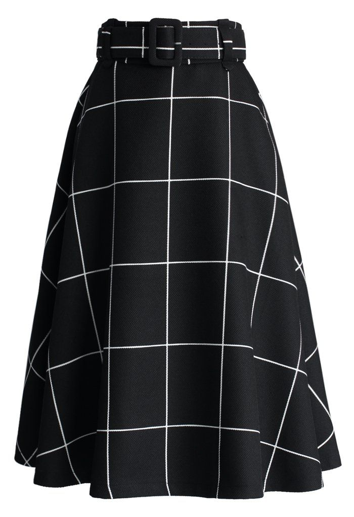 Sway the Plaids Belted Midi Skirt in Black - Buyer's Pick - Retro, Indie and Unique Fashion