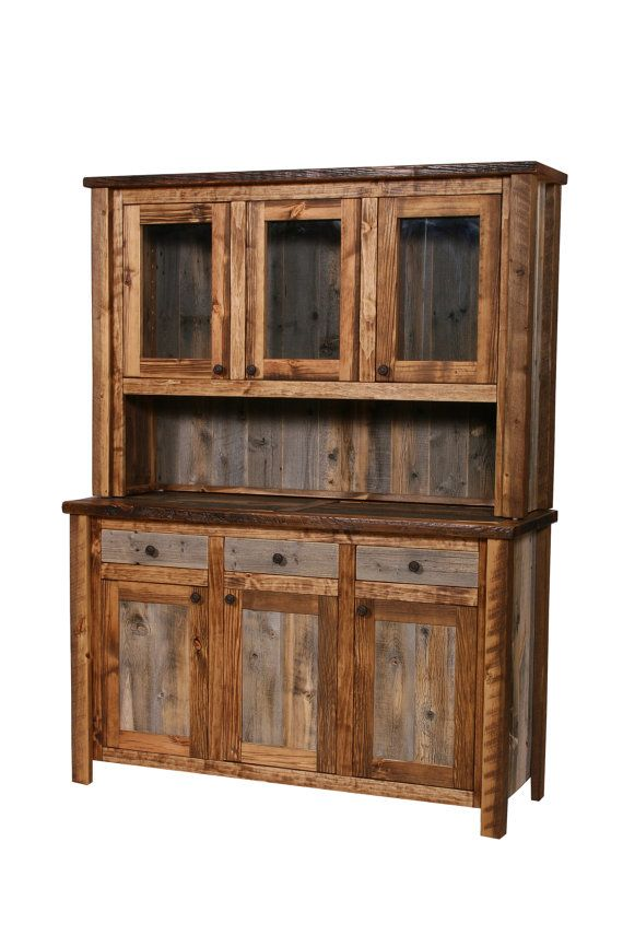 Natural Barn Wood Buffet and Hutch, Rustic Buffet, Barn Wood Buffet, Rustic…
