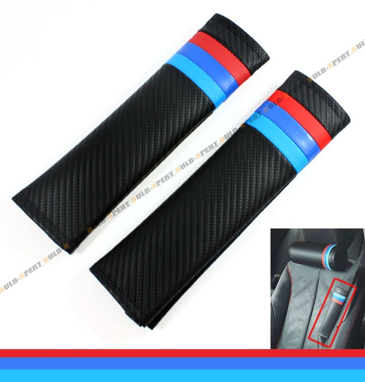 2 x RED BLUE M TECH COLORWAY CARBON CLOTH CUSHION SEAT BELT SHOULDER PAD FOR BMW | eBay