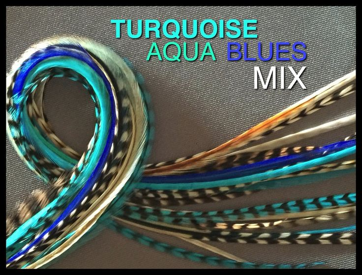 Feather Hair Extension Turquoise Aqua Blues Naturals 24Pack 4FREE Popular Pack