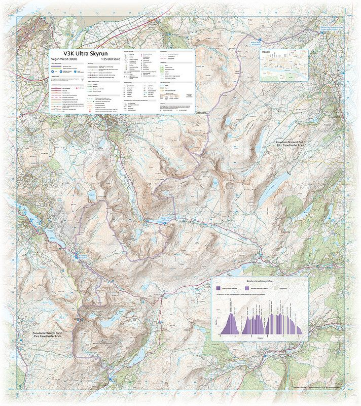 V3K Ultra Skyrun - we were approached to create a custom unofficial #map for some of the athletes participating in a 55km #running #race across the highest mountains of North #Wales, also known as the Vegan Welsh 3000s and now a part of #Skyrunner UK's race series. This was our initial design and proof.