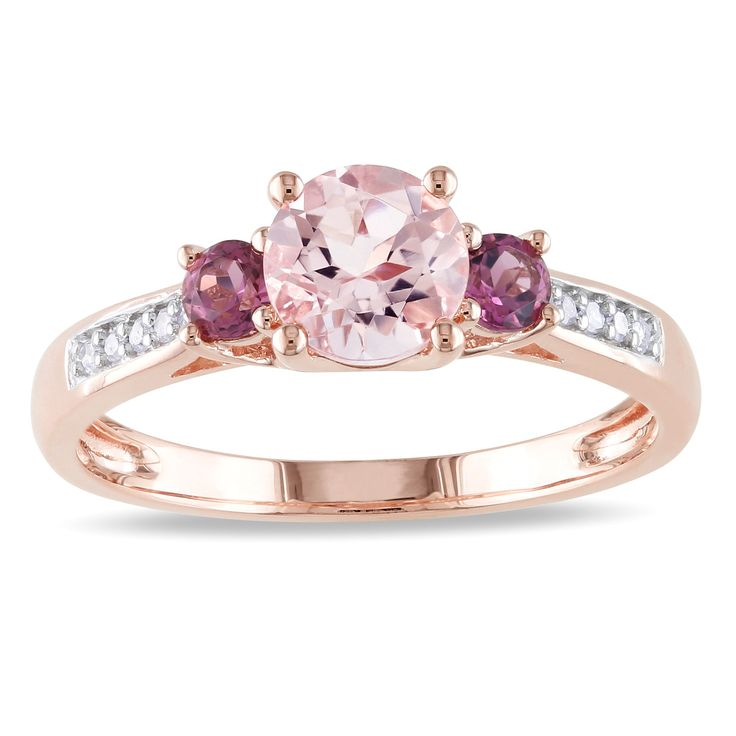 <li>Morganite, pink tourmaline 3-stone ring with white diamonds</li><li>10-karat rose gold jewelry</li><li><a href='http://www.overstock.com/downloads/pdf/2010_RingSizing.pdf'><span class='links'>Click here for ring sizing guide</span></a></li>