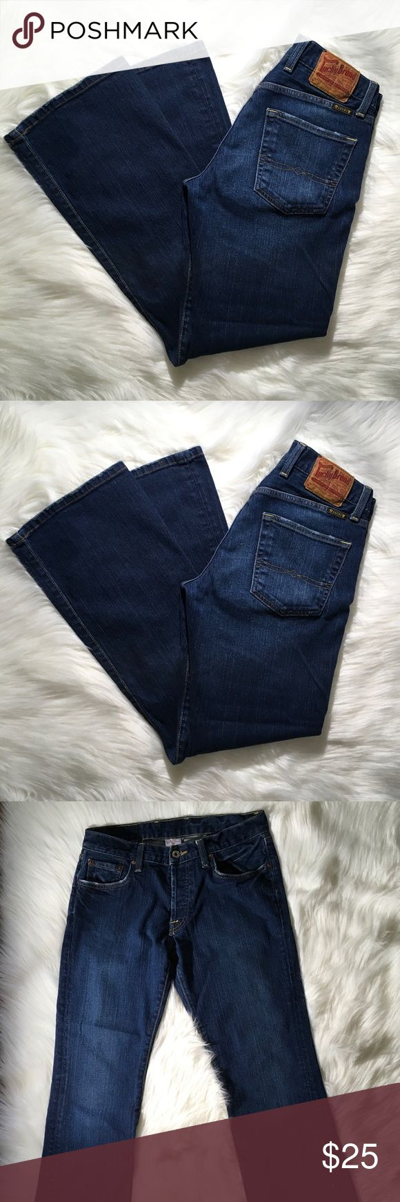 """Lucky Brand Men's Bootleg Jeans 30 X 30 Button Fly Lucky Brand Men's Slim Bootleg Button Closure Jeans Waist 30"""". Inseam 30"""" 100% Cotton- Broken in Jeans Factory Distressed  Waist 15"""" laying flat  Hip 19"""" laying flat  Thigh 9"""" laying flat  Broken- in Dark wash with fading from washing  Some Distressing on Pockets & Hems from use Clean and Smoke Free Home Lucky Brand Jeans Bootcut"""