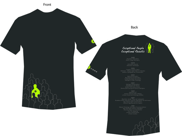 Design for an iCore (Alberta Informatics Circle of Research Excellence) t-shirt