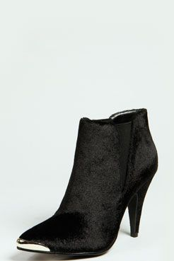 Hope Velvet Touch Pointed Ankle Boot at boohoo.com - Loving these! Been looking for a cute cap-toe boot forever.