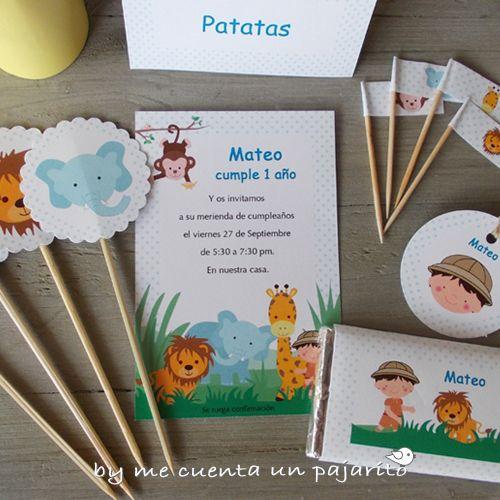 kit de cumpleaos del explorador de safari len elefante mono y jirafa