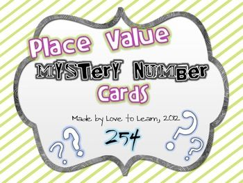 Place Value Mystery Number Cards: Task Cards, Cards Places, Mystery Cards, Cards Freebies, Numbers Cards