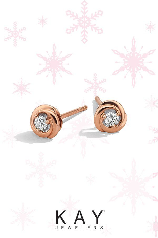 Center Of Me Diamond Stud Earrings 1 10 Ct Tw 10k Rose Gold Kay Stud Earrings Diamond Earrings Studs Diamond Studs