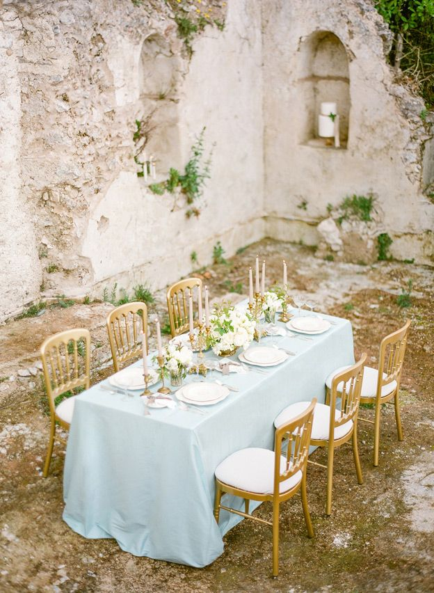 44 best outdoor weddings images on pinterest outdoor weddings pale blue linen al fresco dining outdoor wedding estate table gold marie junglespirit Gallery