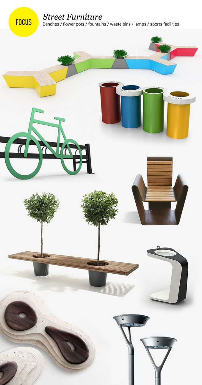 Street furniture: benches, flower pots, fontains, waste bins, lamps, sports facilities