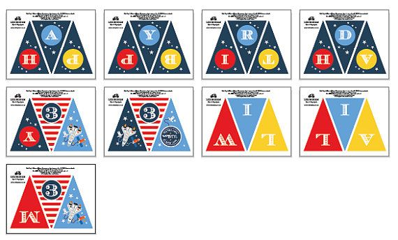 Astronaut/Space Shuttle Bunting Flags DIY Printables