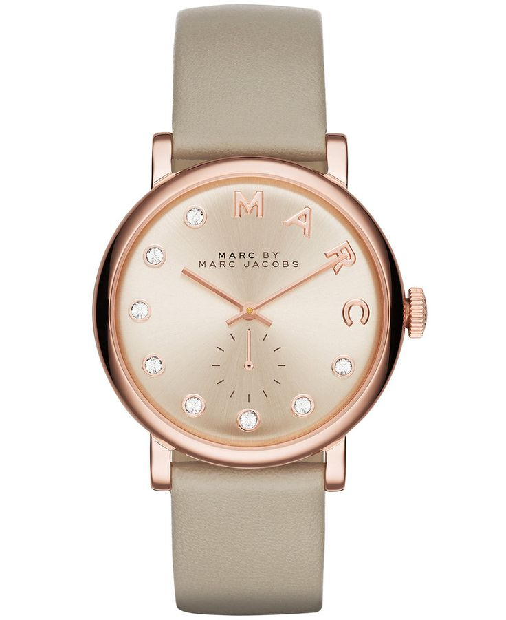 Women's Marc Jacobs Baker Crystallized Leather Strap Watch MBM1400