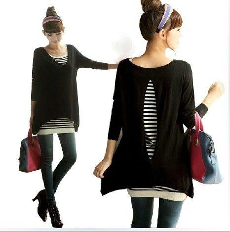 2013 autumn new fashion maternity stripe basic skirt V-neck open back sweater twinset pregnant women clothes plus size backless