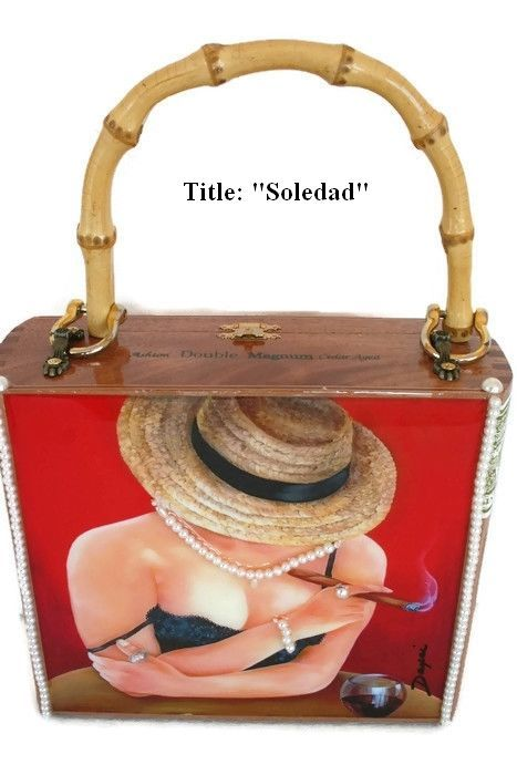 """Lowest Price! The Best  Cigar Box Purse w/ """"Soledad""""  Oil Painting."""