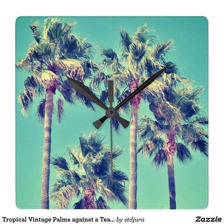 Tropical Vintage Palms against a Teal Sky Square Wall Clock  #Tropical #Vintage #Palms #Wall Clock #time #trees