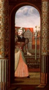 """Learn about Jane the Fool, who entertained several Tudor queens: http://www.theanneboleynfiles.com/jane-fool/ IMAGE: Detail from """"The Family of Henry VIII"""", showing Jane the Fool."""