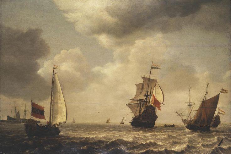 Simon de Vlieger - Stormachtige zee met zeilschepen (1645)