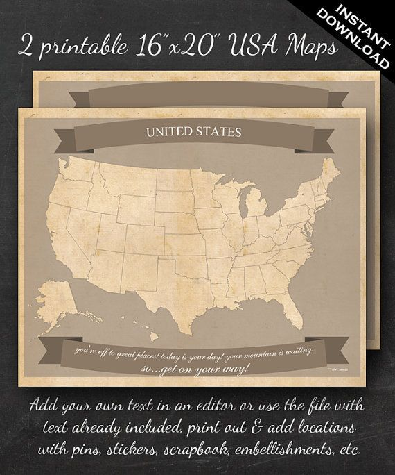 """United States Travel Maps - Printable USA Travel Map Instant Download - 16""""x20"""" US Wall Art - 2 pack - With Text or Add your own text"""