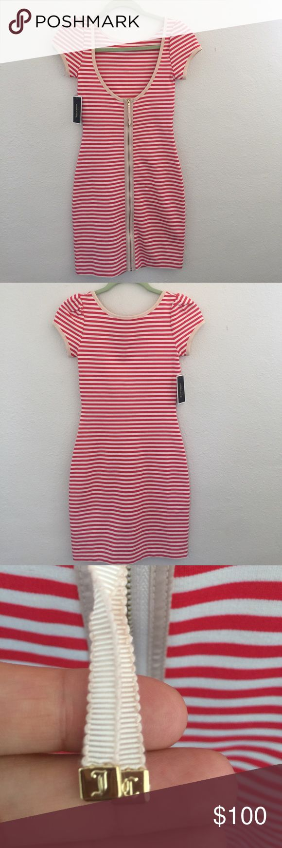 Juicy Couture dress Stripped Bon con dress. First picture is actually the back of the dress. Scoop back with gold zipper. NWT size XS cap sleeves. Juicy Couture Dresses Midi