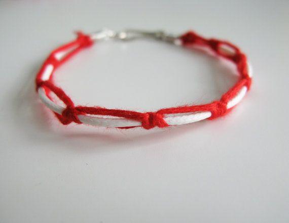 Martis braided bracelet red white Greek folk bracelet by ArktosArt