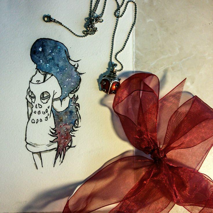 Manga girl galaxy hair watercolor & sketch