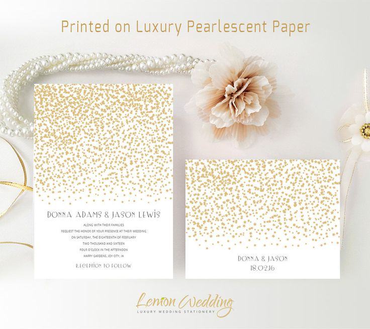 gold wedding invitation set printed on luxury shimmer cardstock gold stars wedding invitation cheap - Cheap Wedding Invitations Sets