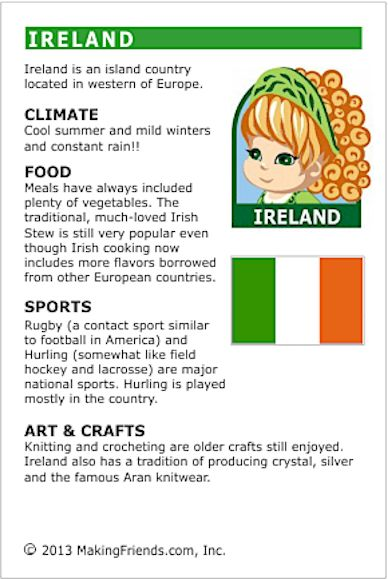 MakingFriends Facts about Ireland Printable Thinking Day fact card for our passports. Perfect if you chose Ireland for your Girl Scout Thinking Day or International Night celebration.