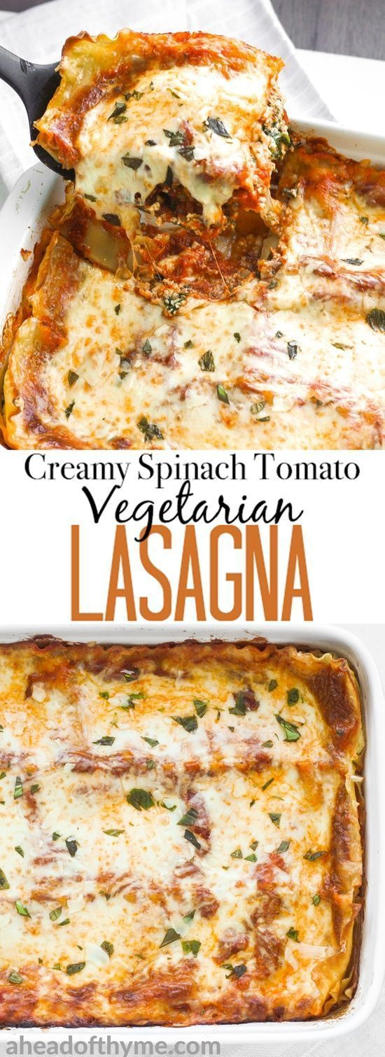 Take comfort food to another level with the best creamy spinach and tomato vegetarian lasagna. You won't even miss the meat!
