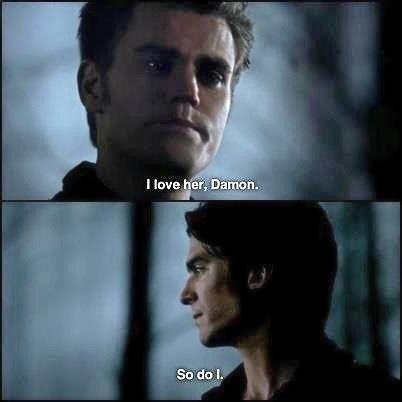 Stefan loves Elena. So does Damon.