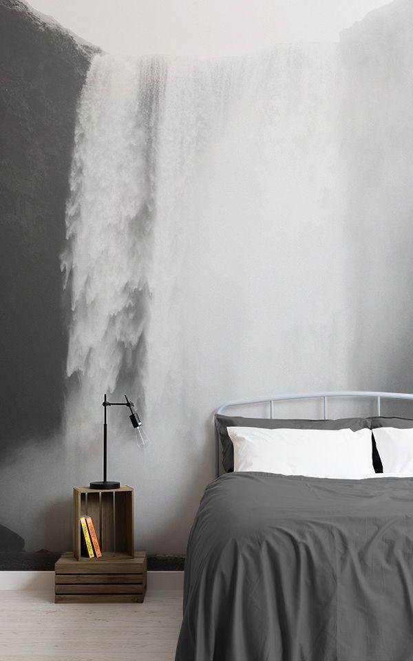 Ruhig Grün Wasserfall Fototapete Tapeten Wandbilder Pinterest