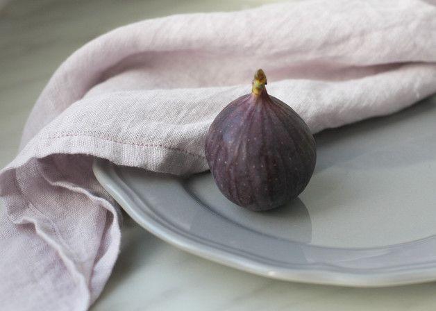 Soft linen napkins; Pudre purple linen for table decor Serwetki lniane obiadowe 2szt. Wrzos 55x55cm