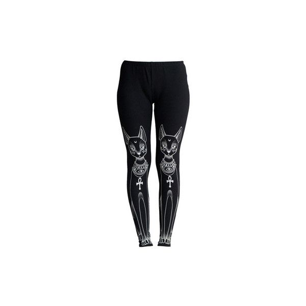 KillStar Bast legging met egyptische katten print zwart ($56) ❤ liked on Polyvore featuring pants, leggings, bottoms, pants + shorts, print pants, patterned trousers, legging pants, patterned leggings and patterned pants