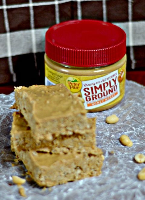 Easy peanut butter bars with only three ingredients.